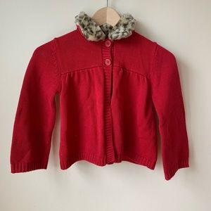 Gymboree | Girls' Red Cardigan W/ Fur Top - Size 7